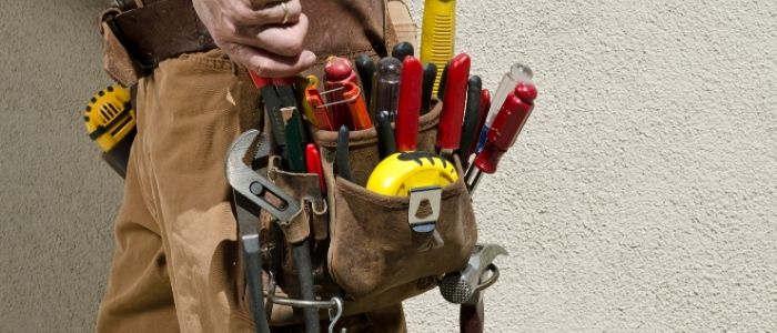 Retail handyman working on site